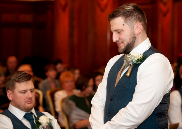 groom waiting before the ceremony at the midland hotel